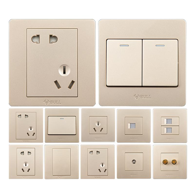 型电源五孔二三插板家用墙壁开关套装 86 公牛开关插座面板多孔暗装