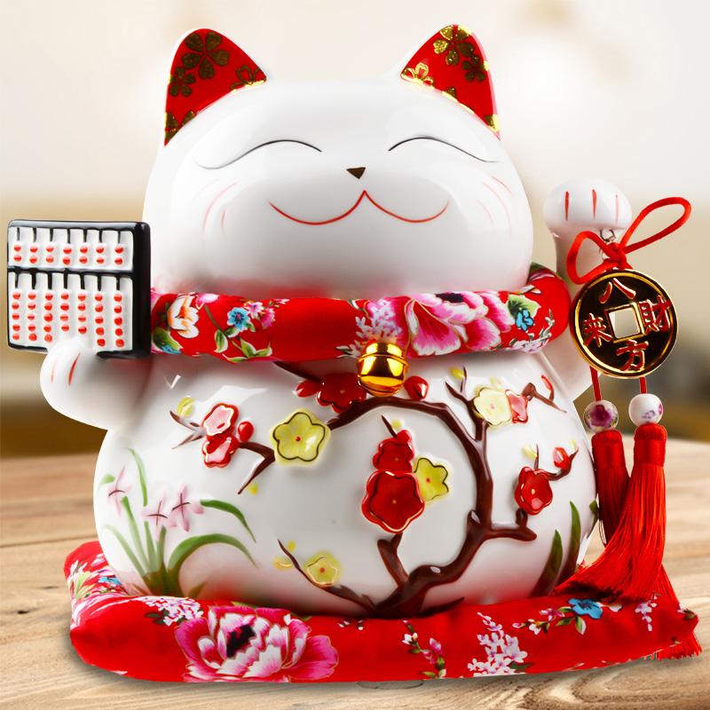 招财猫摆件开业礼品店铺收银台大号存钱罐陶瓷家居创意发财猫客厅