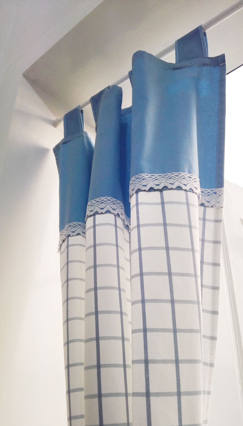 清新蓝格子日式门帘布艺厨房半帘卫生间隔断帘装饰帘纯棉清新包邮