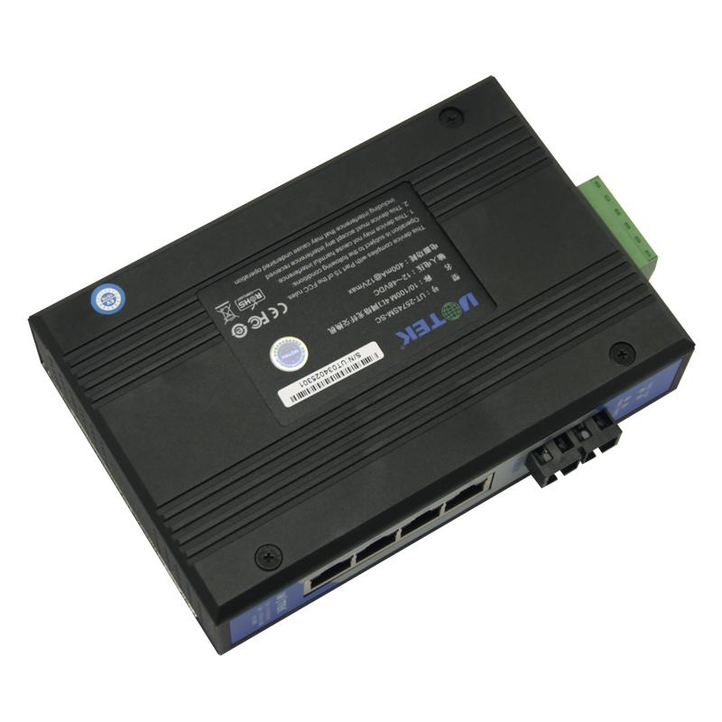 宇泰 1光4电网络光纤交换机百兆工业以太网交换机UT-2574SM/MM