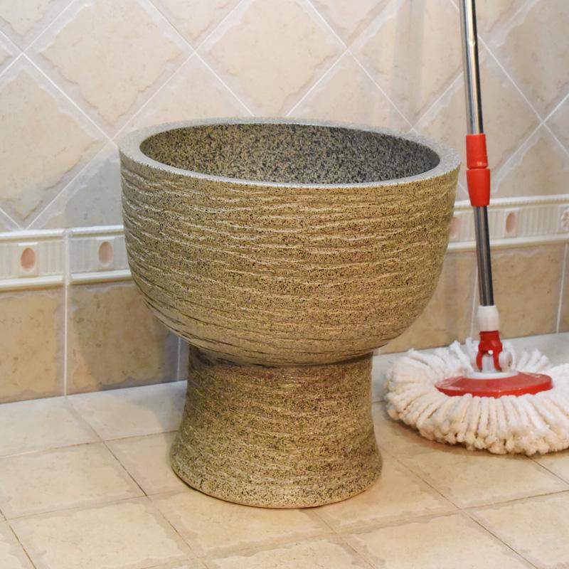 景德鎮陶瓷一體拖把池灰雨花石拖把桶拖布池下水池污水池拖把斗