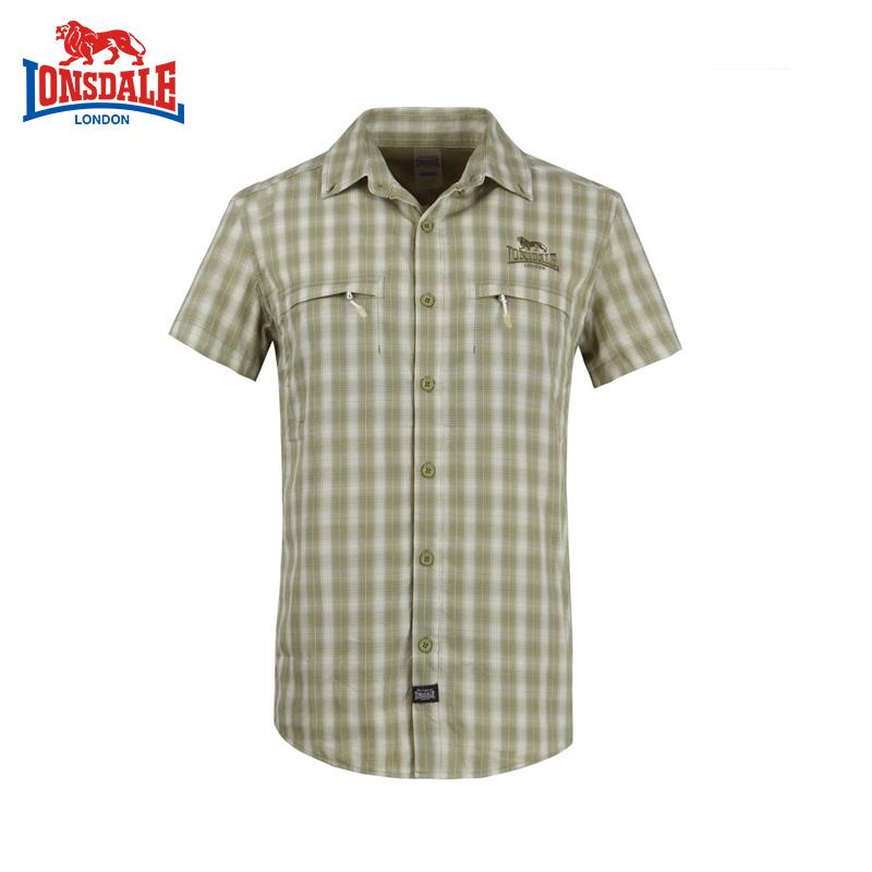 Lonsdale龍獅戴爾夏季正品戶外格子襯衫 舒適透氣男式短袖速乾衣