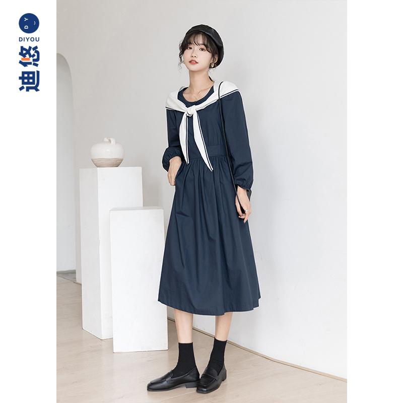 显瘦长袖艺术感长裙子