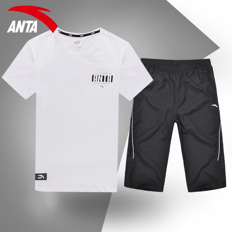 安踏运动套装男装2019夏季新款休闲透气运动服短袖七分裤两件套男
