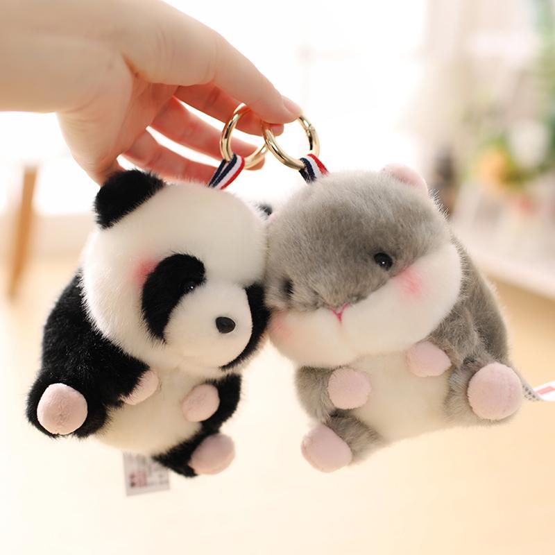 可爱熊猫公仔包包书包挂件仓鼠小兔子毛绒玩具奶牛小号娃娃玩偶女