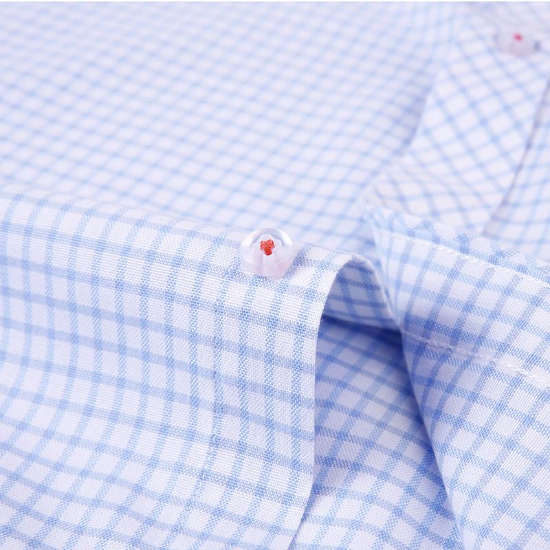 欧比森秋季格子衬衫男士青年韩版修身长袖衬衣商务休闲牛津纺潮流