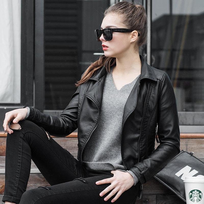 皮衣女短款小外套pu女士显瘦机车黑色韩版2018新款春装女装皮夹克