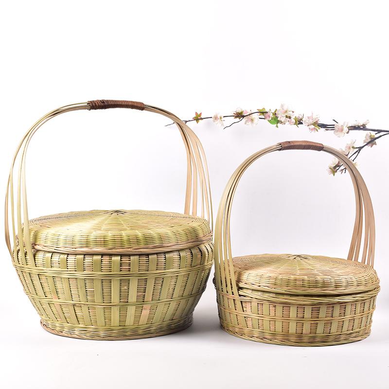 手工竹编带盖竹筐收纳筐食物篮手提蓝竹篮鸡蛋篮饭篮竹萝水果花篮
