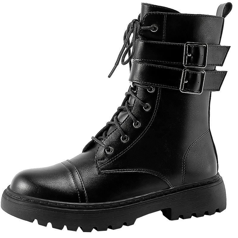 真皮短靴 ins 年新款英伦风中筒靴子女潮 2020 黑色马丁靴女春秋单靴