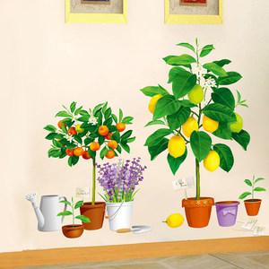 绿色植物花瓶盆栽柠檬树橘子树贴纸仿真特效墙贴画客厅房间墙贴纸