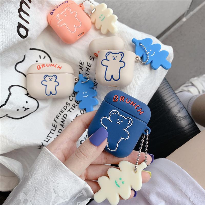 韓國ins可愛卡通呼啦圈小熊適用AirPods保護套蘋果1/2/Pro硅膠女款潮軟創意情侶弔墜掛飾硅膠藍牙無線耳機套