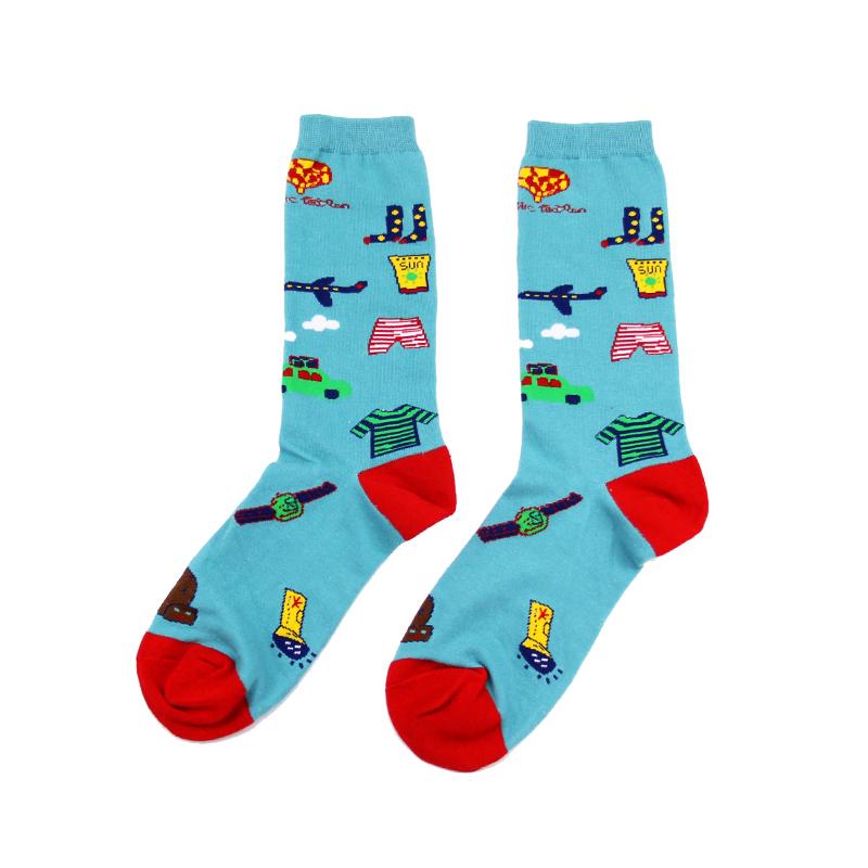 情侣棉袜子 T家卡通滑板男女士中长筒彩虹波浪袜子 情怀堆堆袜潮