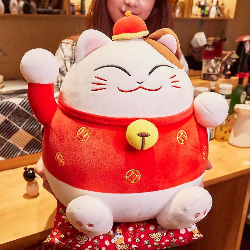 招财猫抱枕公仔可爱日式日本布娃娃睡觉女生床上抱睡猫咪毛绒玩具