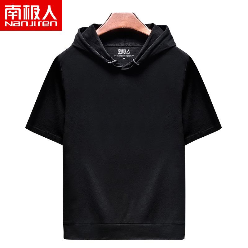 短袖卫衣男春秋款连帽 宽松运动篮球上衣夏季薄款大码男装黑色T恤