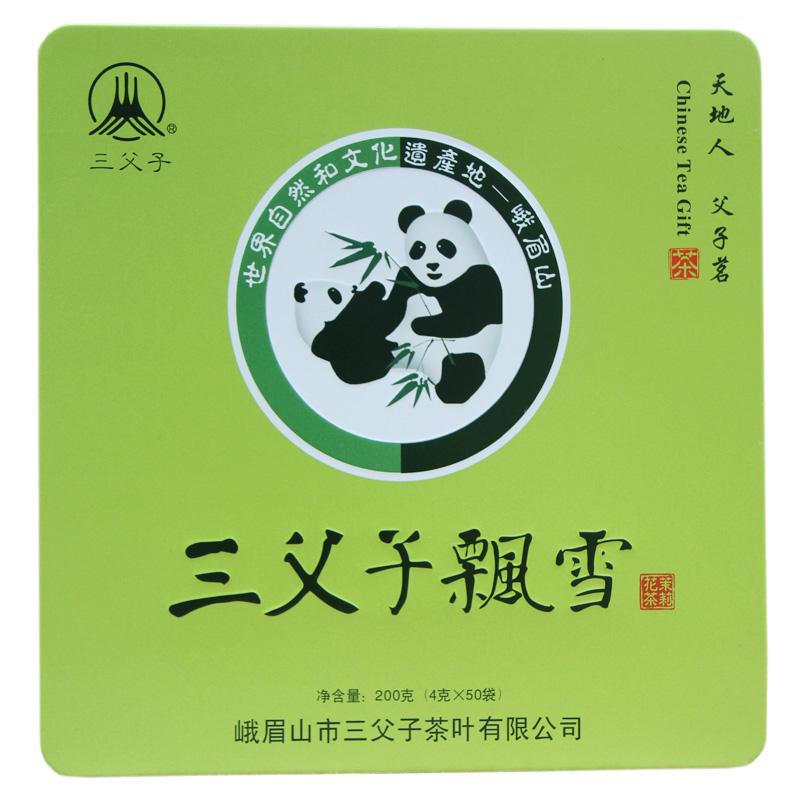 峨眉山2019年新茶三父子飘雪特级茉莉花茶叶200g(4gX50袋)礼盒装
