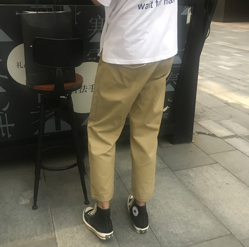 裤子 INS 休闲裤男工装裤裤子韩版潮流九分裤夏季直筒宽松薄 超火