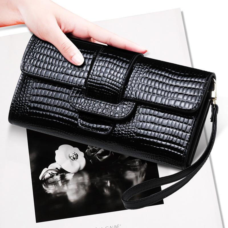 手包女 手拿包2019新款 韓版小鱷魚紋牛皮百搭手機包 長款錢包女