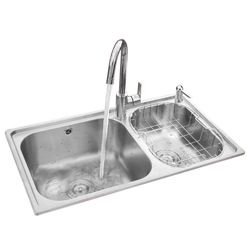 02094 不銹鋼加厚雙槽洗碗池洗菜盆套餐 304 九牧廚房水槽套裝 JOMOO