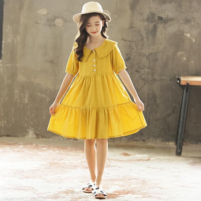 女童夏季连衣裙12-13岁15中大童纯棉宽松娃娃领夏装9儿童薄款裙子主图