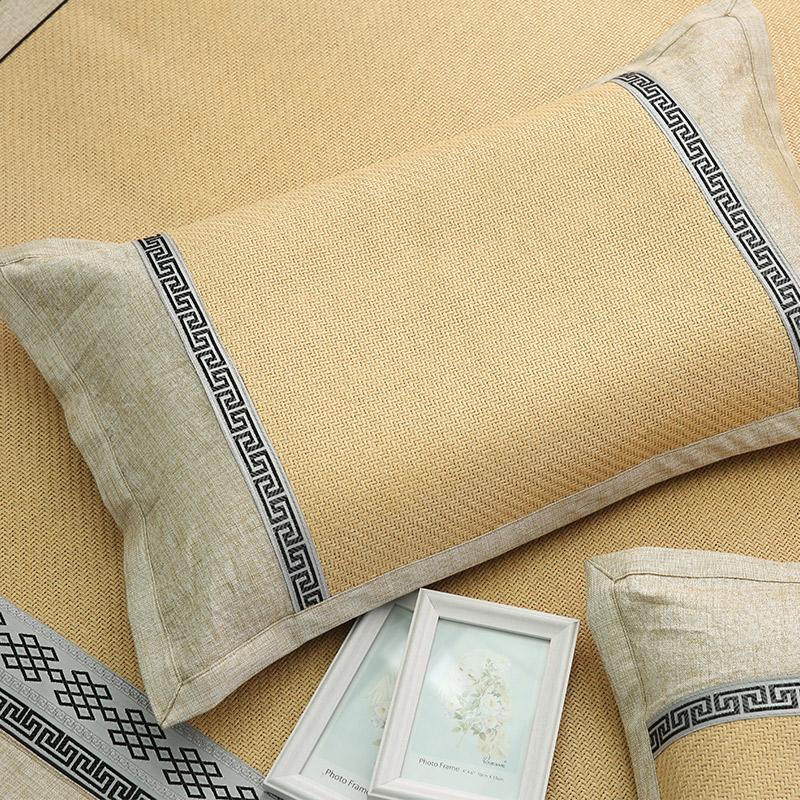 半岛良品 冰丝夏季凉枕套 单双人枕头套枕席凉席 竹席草席枕芯套