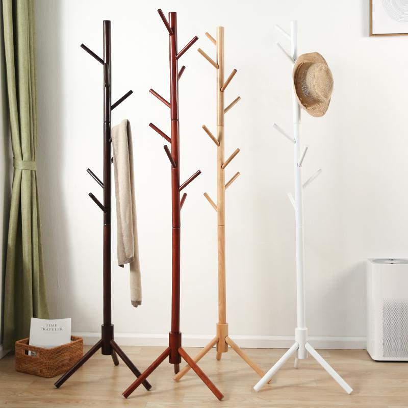 挂衣架落地 卧室实木衣帽架 家用简易的单杆式衣服架子立式挂包架