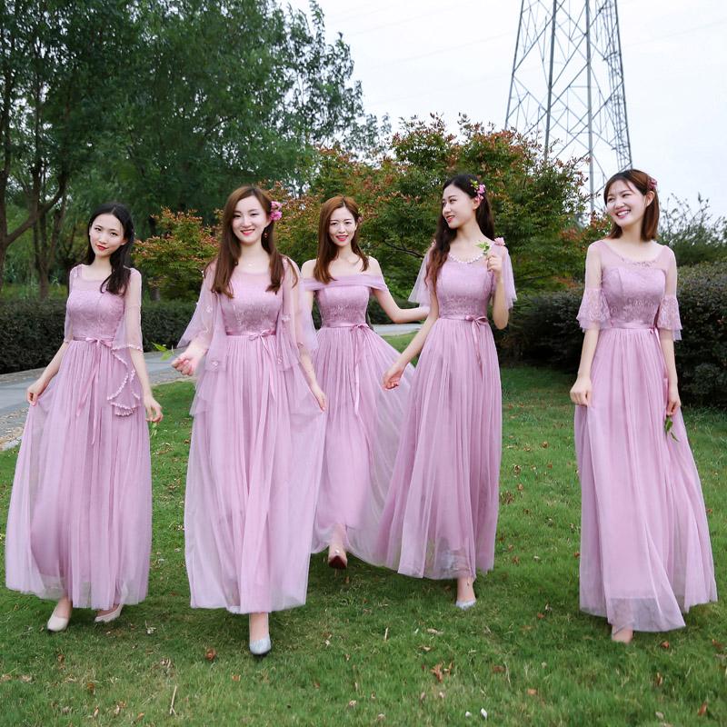 伴娘服2018新款韩版一字肩连衣裙灰色长款显瘦伴娘团姐妹裙礼服