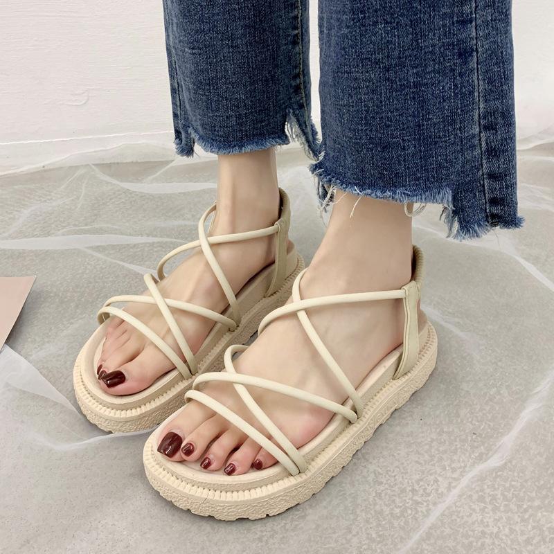 2020夏季新款松糕厚底凉鞋女韩版交叉绑带日常罗马坡跟女鞋子