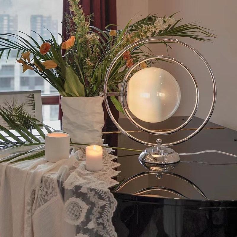 复古玻璃月球客厅卧室床头灯 vintage 中古旋转艺术台灯 1970 意大利