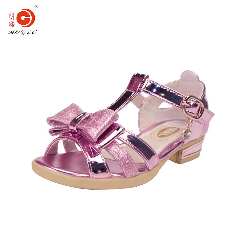 明璐童鞋2018夏季新款女童凉鞋小高跟拉丁舞蹈鞋儿童中大童公主鞋