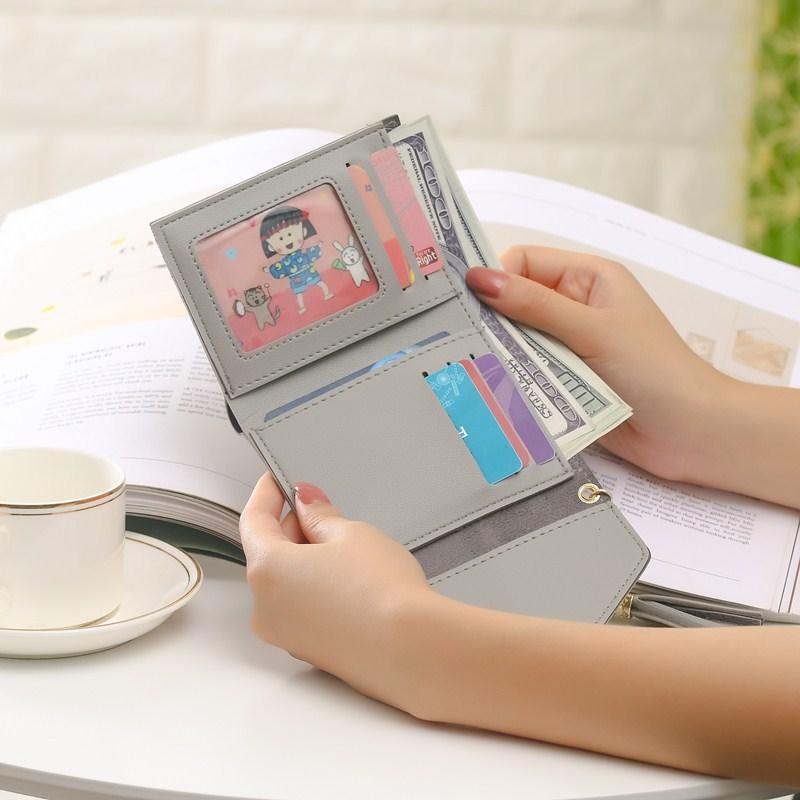 新款钱包女长款学生可爱女士钱包日韩版三折钱夹超薄拉链简约流苏