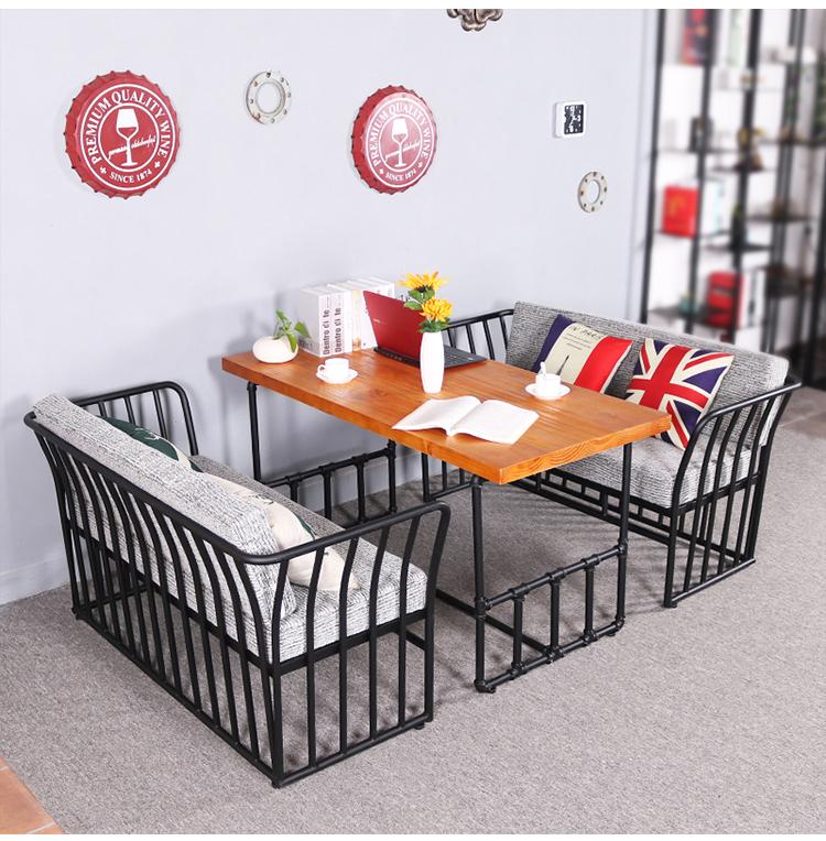 欧式简约餐厅奶茶店铁艺沙发组合工业风现代休闲西餐厅甜品店桌椅