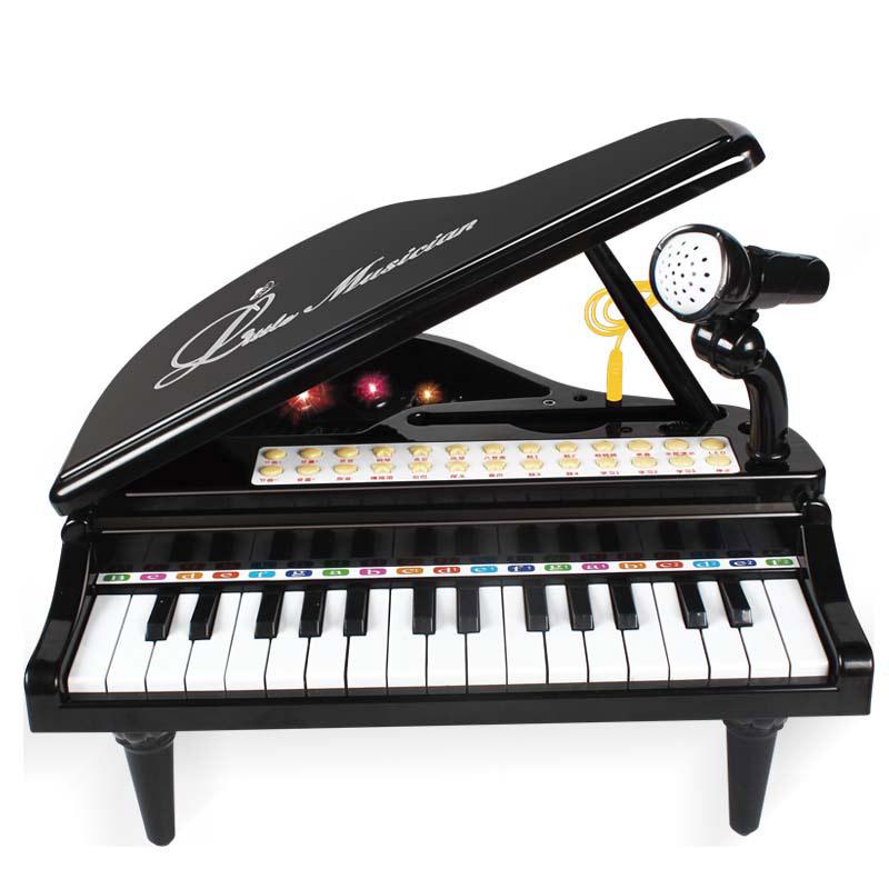 宝丽/Baoli 儿童电子琴麦克风宝宝早教音乐小钢琴女孩玩具3-6岁