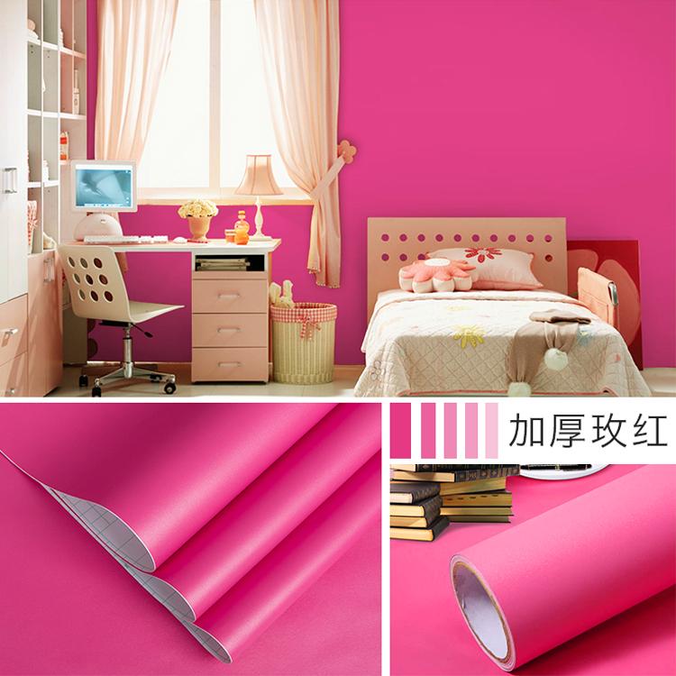 米长防水自粘中国红喜婚庆粉色少女心背景墙贴纸 10 大红色壁纸纯色