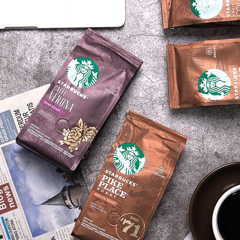 深度烘焙新鲜现磨黑咖啡粉原装进口 星巴克咖啡豆粉意式浓缩中度