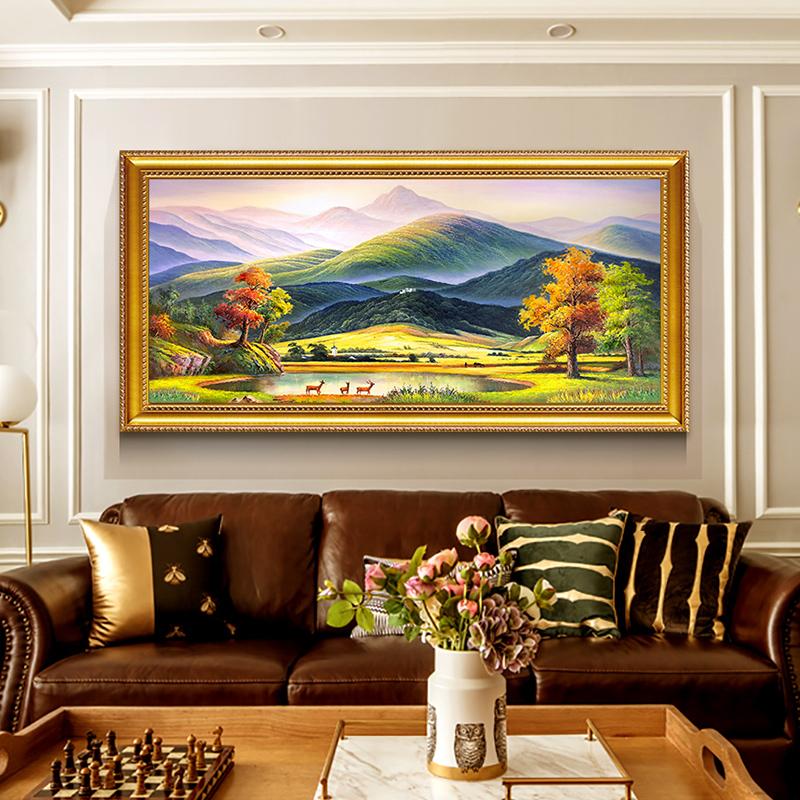 美式沙發背景墻裝飾畫歐式客廳玄關風景油畫餐廳掛畫新款巨人山
