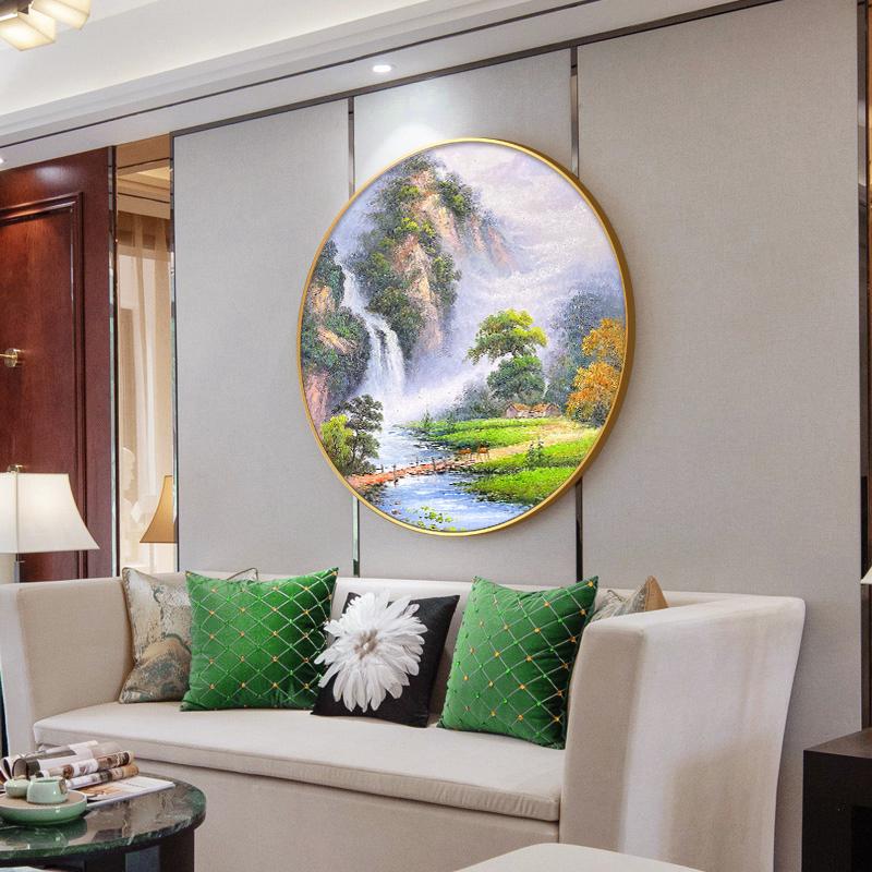 新中式玄關手繪油畫裝飾畫客廳背景墻山水風景餐廳圓形壁掛畫定制