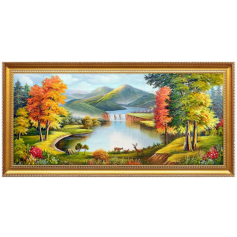 聚寶盆山水風景油畫手繪歐式客廳裝飾畫招財鹿沙發背景墻壁畫掛畫
