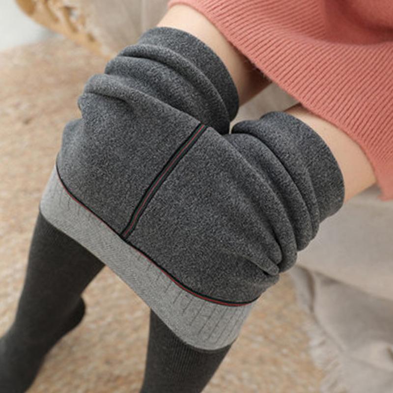 新款秋冬竖条螺纹包边冬暖冬保暖一体打底裤女外穿1900D