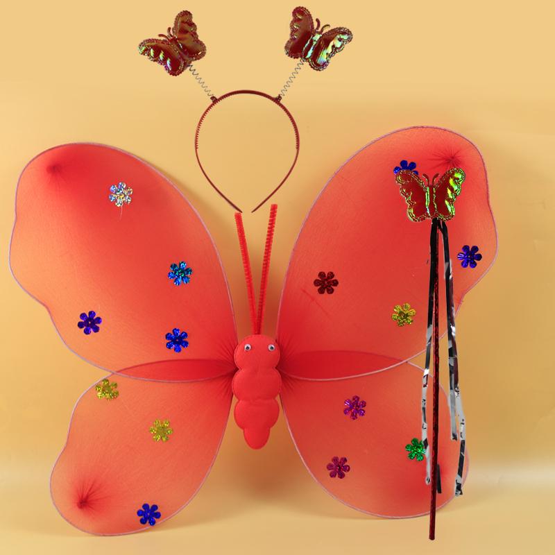 儿童节日背饰小女孩的道具天使蝴蝶翅膀三件套道具公主仙女魔法棒