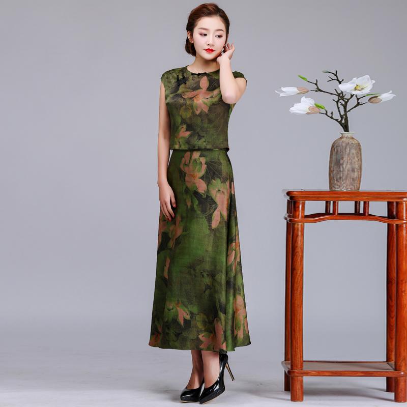 珺韵新款香云纱真丝旗袍上衣半身裙两件套装香云纱真丝连衣裙