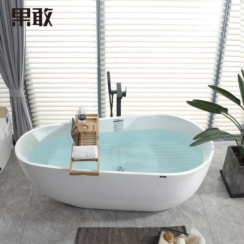 果敢蛋形家用成人亚克力欧薄边独立式简约浴缸1.4m-1.8米049浴盆