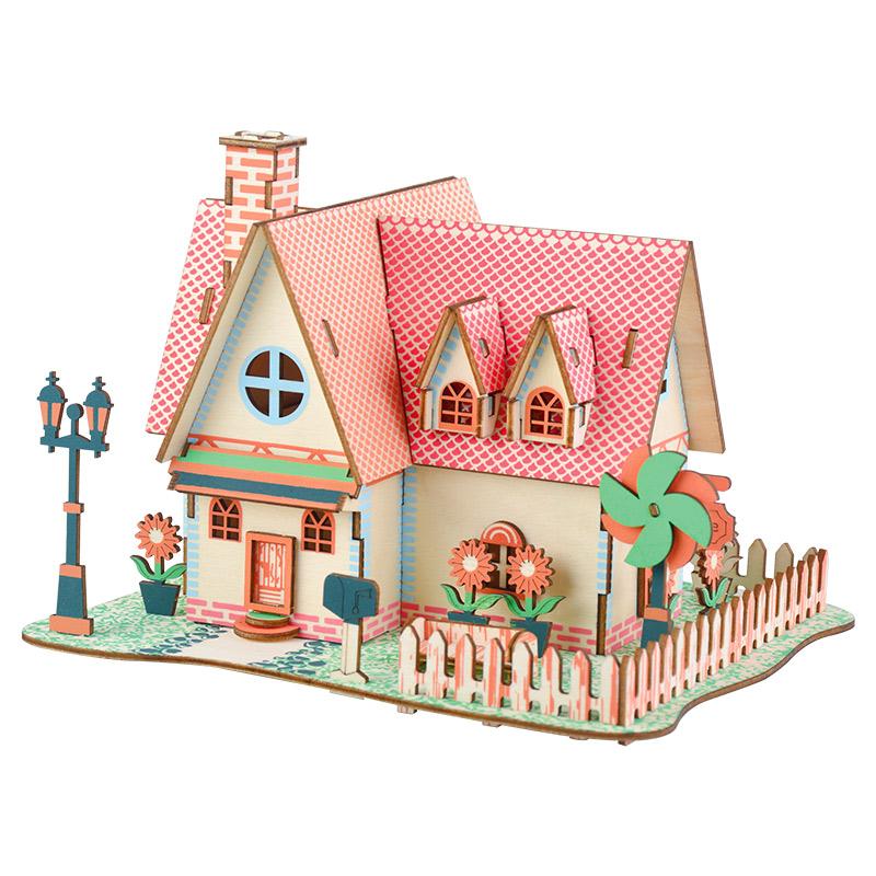 木制立体拼装精美别墅城堡模型儿童手工3diy房屋拼图女孩玩具礼物