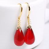 Beeswax shaped drop earrings with burgundy blood amber earrings female s925 white fungus hook national wind retro earrings hypoallergenic