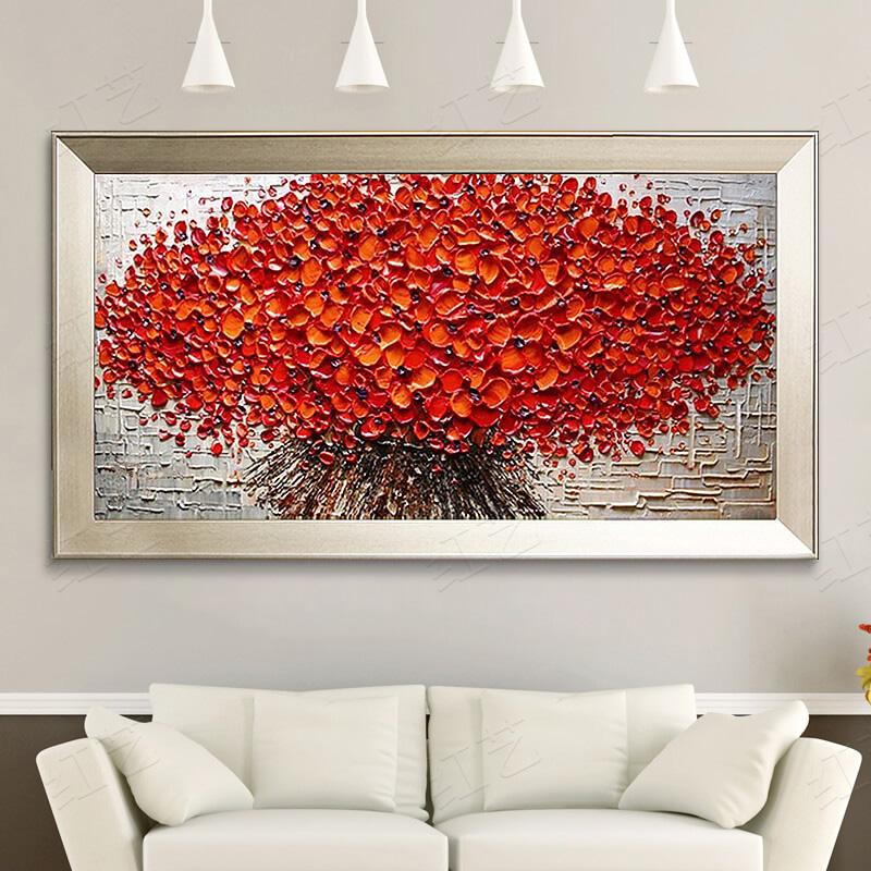 純手工繪油畫客廳裝飾畫橫版現代簡約抽象壁畫臥室床頭掛畫發財樹