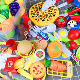 Hamburger fries set play house male simulation food fruit and vegetable cut cut music kitchen tableware little girl dessert toy