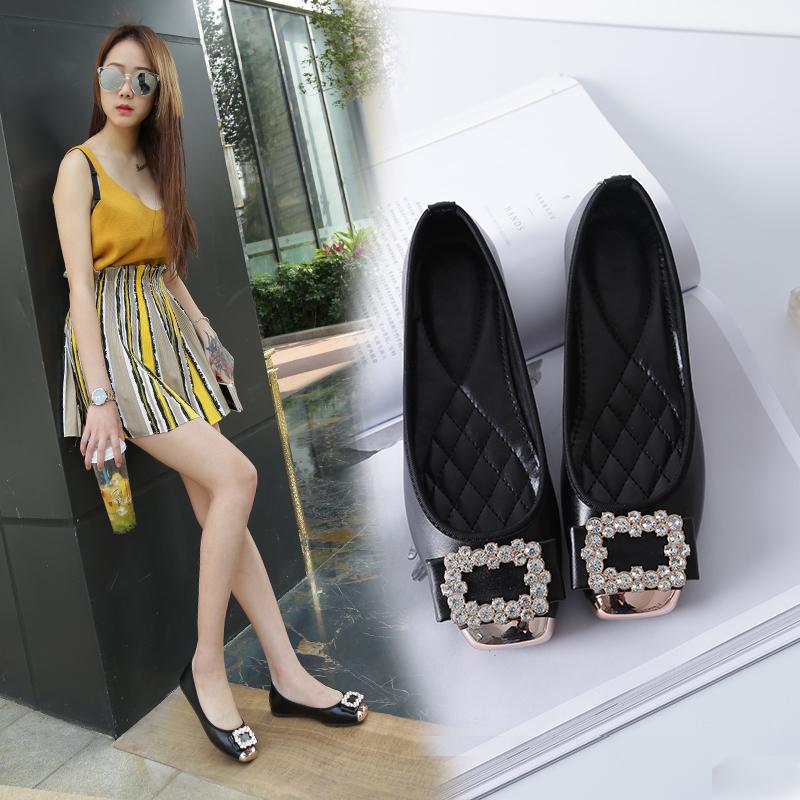 春季方头浅口孕妇可穿软底鞋反季清仓 2017 平跟平底女单鞋