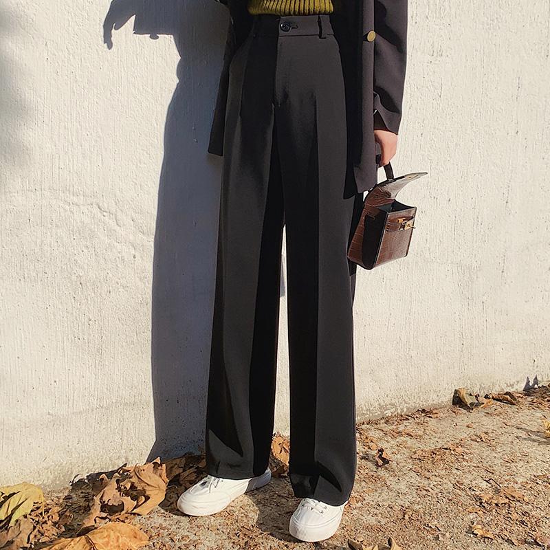 阔腿裤女裤子垂感宽松高腰黑色西裤薄款西装夏季直筒休闲拖地长裤