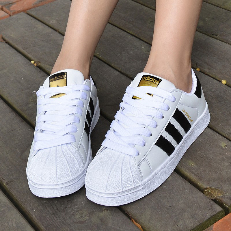adidas女鞋三葉草情侶經典金標貝殼頭小白鞋男板鞋C77124 B27140