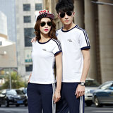 Summer couple sports suit men's cotton short-sleeved trousers round neck sportswear female plus size casual three-piece sportswear
