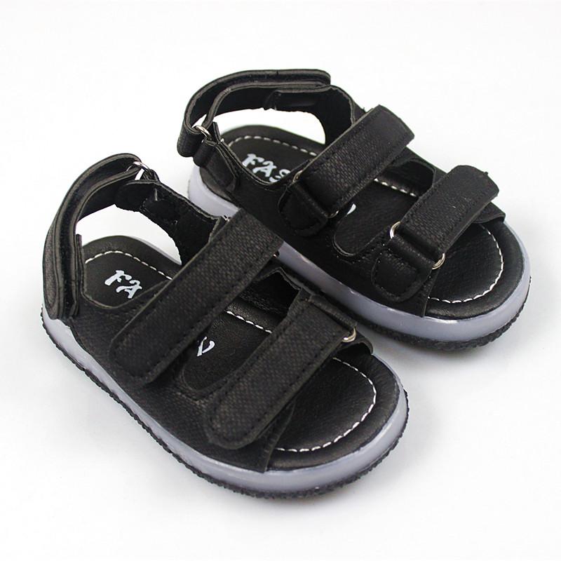 2019夏新款韩版男童凉鞋带灯童鞋小童宝宝鞋软底女童鞋儿童灯光鞋